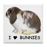 """I love bunnies 1"" Tile Coaster"
