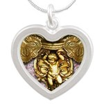 Gold Baroque Jewel Collection Silver Heart Necklac