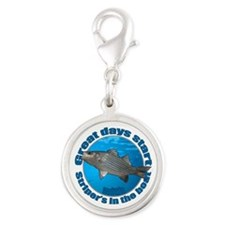 Great days start with stripers Silver Round Charm