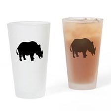Black Rhino Silhouette Drinking Glass