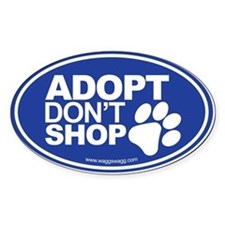 Adopt Don't Shop EURO Oval Stickers Decal