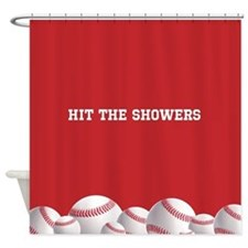Red Baseball Shower Curtain