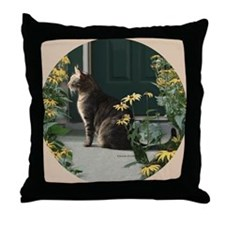 Day Dreaming Cat with Sunflowers Throw Pillow