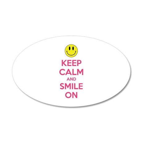 Keep Calm And Smile On 22x14 Oval Wall Peel