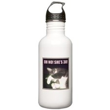Funny 30th Birthday (Cat) Sports Water Bottle