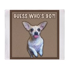 90th Birthday Humor (Dog) Throw Blanket