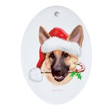 Tan G Shepherd Christmas Oval Ornament