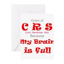 My Brain is Full-red Greeting Cards (Pk of 10)