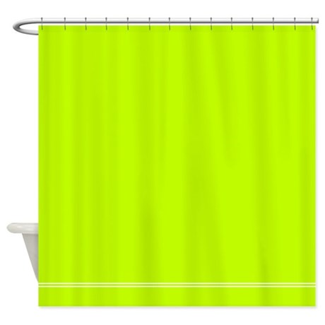 Bright green shower curtain