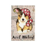 Welsh Corgi Pirate Rectangle Magnet