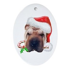 Shar-Pei Christmas Oval Ornament