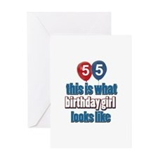 55 year old birthday girl Greeting Card