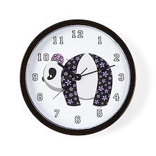 Purple Panda Wall Clock