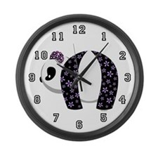 Purple Panda Large Wall Clock