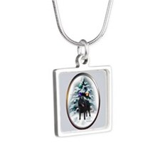 Schipperke Christmas Silver Square Necklace