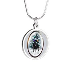 Schipperke Christmas Silver Round Necklace