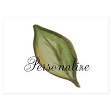 Personalizable Green Watercolor Leaf Flat Cards