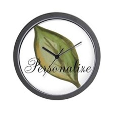 Personalizable Green Watercolor Leaf Wall Clock