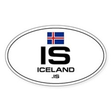 UN-Style Oval Automobile Sticker - Iceland