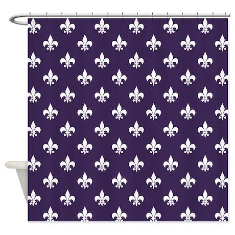 Dark purple fleur de lis shower curtain by hhtrendyhome - Fleur de lis shower curtain ...