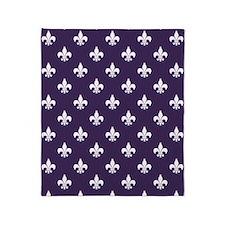 Dark Purple Fleur de Lis Throw Blanket