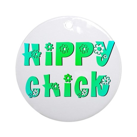 Hippy Chick Ornament (Round)