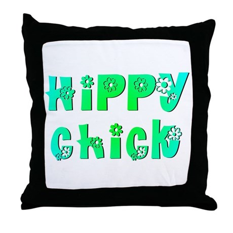 Hippy Chick Throw Pillow