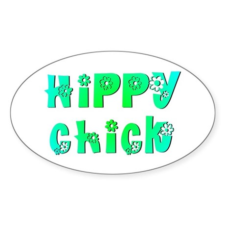 Hippy Chick Oval Sticker
