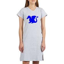 Blue Baby Dragon Silhouette Women's Nightshirt