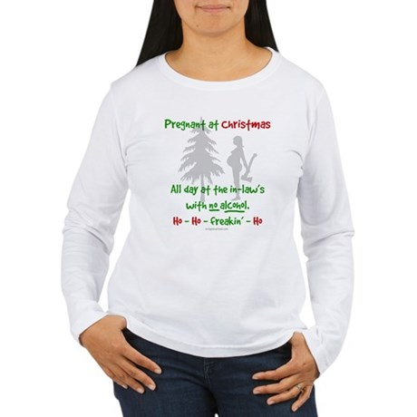 Funny, snarky pregnant at Christmas Women's Long S