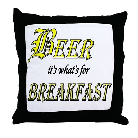 Breakfast Beer Throw Pillow