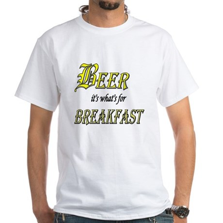 Breakfast Beer White T-Shirt