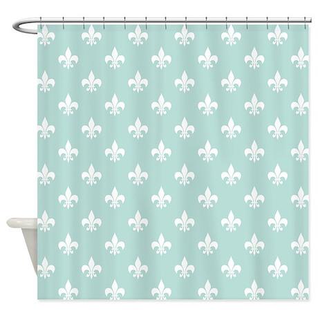 Light Teal Fleur De Lis Shower Curtain By Hhtrendyhome