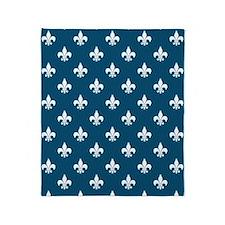 Nautical Blue Fleur de Lis Throw Blanket
