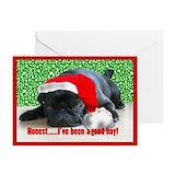 Black pug christmas card Greeting Cards