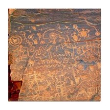 Tile Coaster with Panel of Petroglyphs