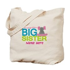 Personalized Elephant Big Sister Tote Bag
