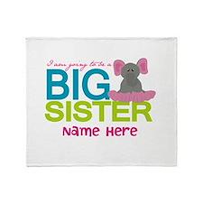 Personalized Elephant Big Sister Throw Blanket