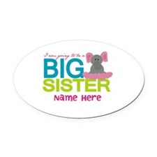 Personalized Elephant Big Sister Oval Car Magnet