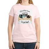 Chin Pawprints Women's Pink T-Shirt