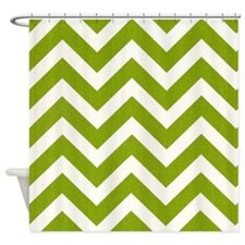 Green Chevron Shower Curtains | Green Chevron Fabric Shower