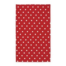 Red and white polka dot 3'x5' Area Rug