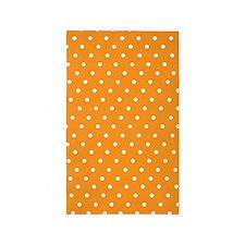 Orange and white polka dot 3'x5' Area Rug