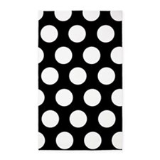 Black and white large polka dot 3'x5' Area Rug