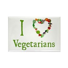 I Love Vegetarians Rectangle Magnet