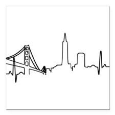 "San Francisco Heartbeat Square Car Magnet 3"" x 3"""