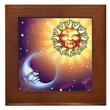 Sun and Moon Faces Framed Tile