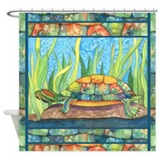 Tie Dye Turtle Watercolor Shower Curtain