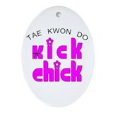 Tae Kwon Do Kick Chick Oval Ornament