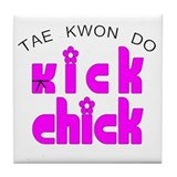 Tae Kwon Do Kick Chick Tile Coaster